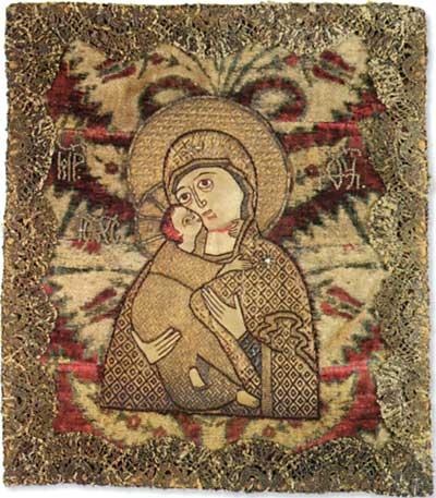 Богоматерь Владимирская. Шитье. 2-ая половина XVII в. Музей икон, Реклингхаузен, Германия