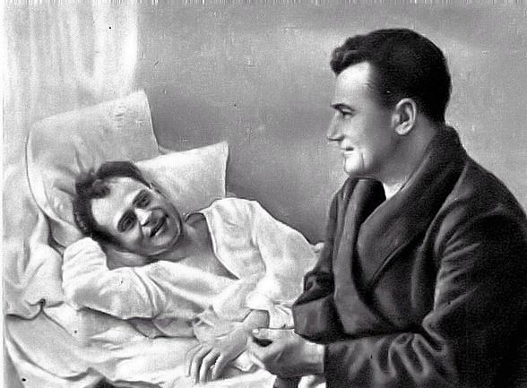 Майор И.Г. Старчак в госпитале. Февраль 1942 года