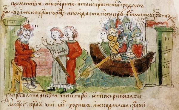 Рюрик разрешает Аскольду и Диру отправться с походом на Царьград. Радзивилловская летопись. Миниатюра.