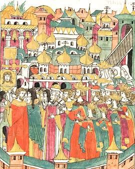 Храма Покрова на Рву. Миниатюра Лицевого летописного свода XVI век