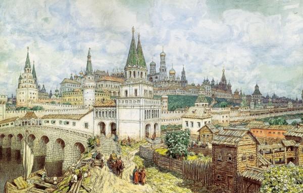 Расцвет Кремля. Всехсвятский мост и Кремль в конце XVII века. 1922, бумага на картоне, уголь, акварель, карандаш