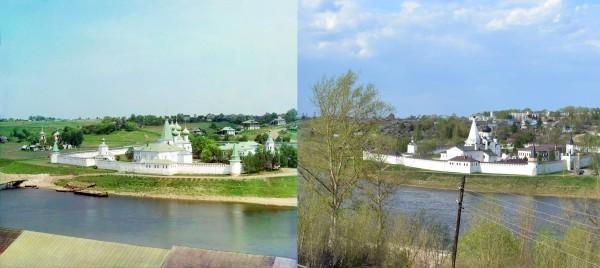 Успенский Старицкий монастырь. Вид с городища. 1910/2013 (В. Ратников)
