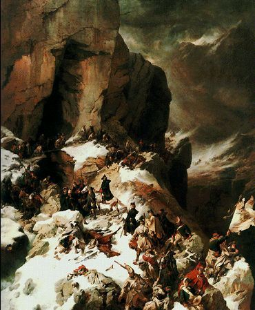 «Переход руских войск через хребет Паникс в 1799 году», А.Е. Коцебу, 1860 год