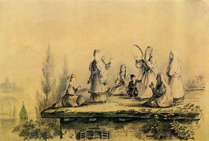 """""""Грузинки на крыше сакли"""" (графитный карандаш, 1837) © Предоставлено Государственным музеем-заповедником """"Тарханы"""" Фото: http://tass.ru/"""