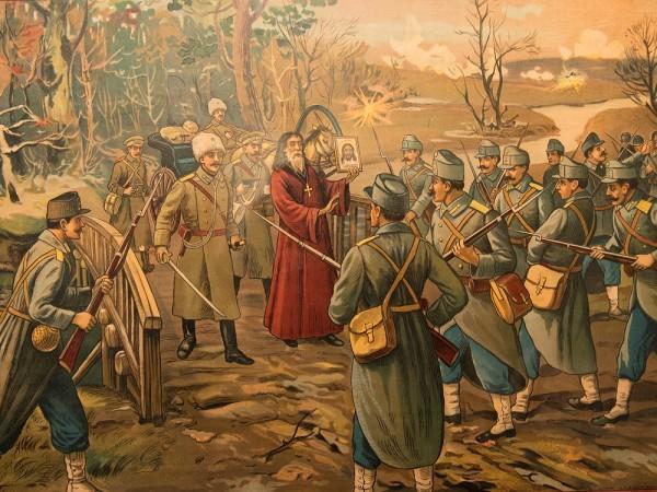 Литография «Отец Парфений разговаривает с австрийскими воинами»