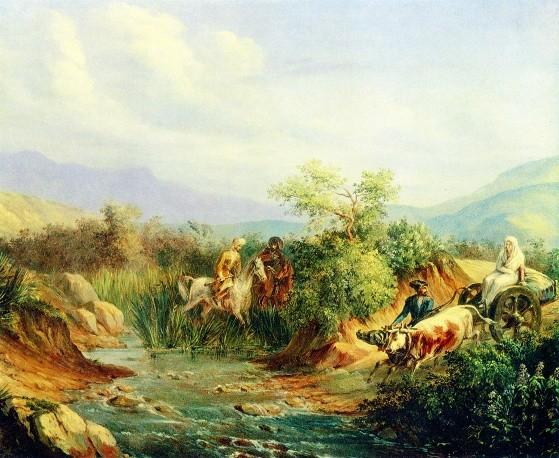 """""""Нападение. Сцена из кавказской жизни"""" (масло, 1837) © Предоставлено Государственным музеем-заповедником """"Тарханы"""" Фото: http://tass.ru/"""