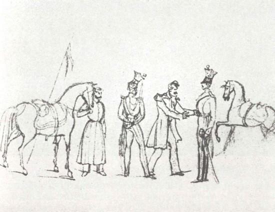 Осмотр ординарцев. Рисунок М. Ю. Лермонтова