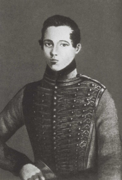 Михаил Лермонтов в форме юнкера гусарского полка