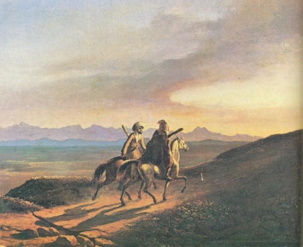 Воспоминания о Кавказе. Картина М. Ю. Лермонтова. Масло. 1838 г.