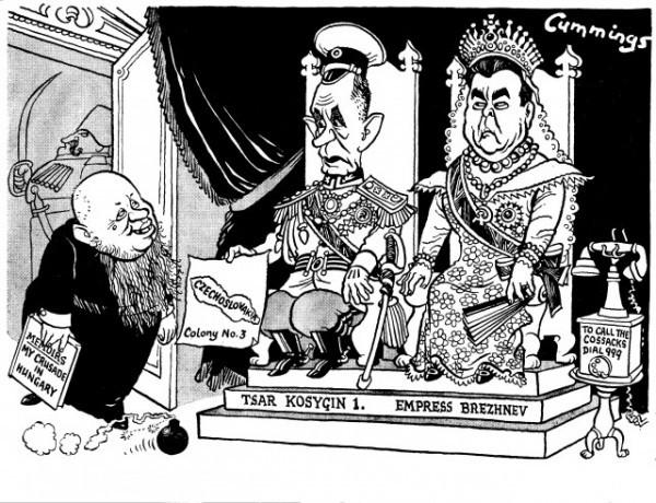 Косыгин и Брежнев. Карикатура