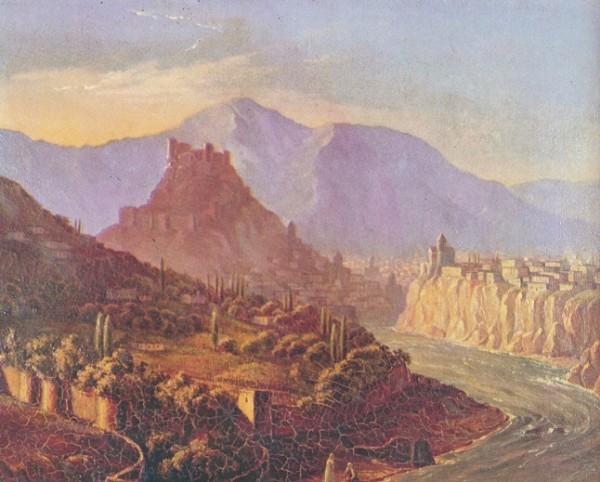 Вид Тифлиса. Масло. Картина была обнаружена незадолго до войны в в художественной галерее г. Иванова 1837 г.