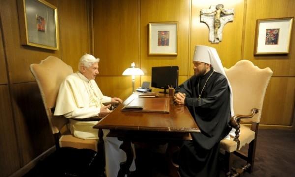Митрополит Волоколамский Иларион встретился с Папой на покое Бенедиктом XVI и Послом России в Ватикане