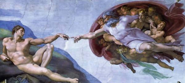 """Микеладжело, фреска """"Сотворение Адама"""""""