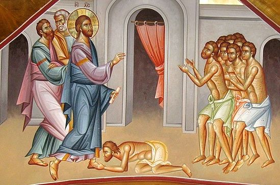 Картинки по запросу икона об исцелении 10 прокаженных