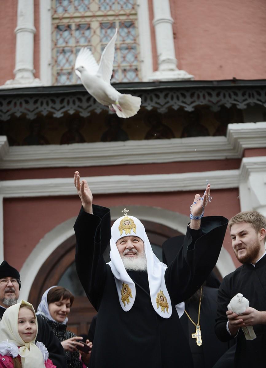 Патриаршее служение в праздник Благовещения Пресвятой Богородицы в Донском монастыре