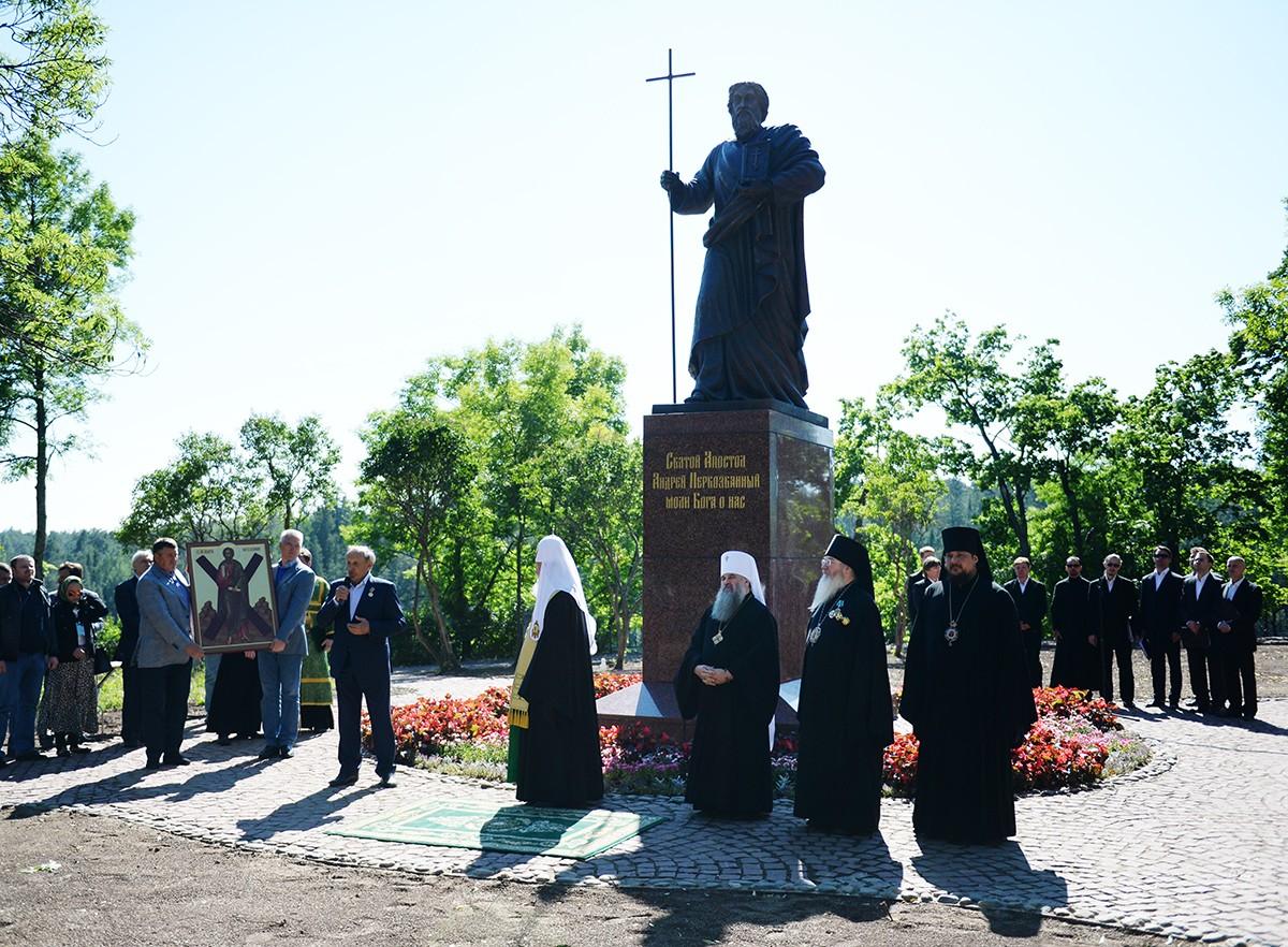 Патриарший визит на Валаам. Освящение памятника апостолу Андрею Первозванному