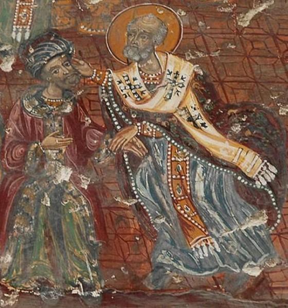 Свт. Николай заушает Ария. Фреска монастыря Панагия Сумела