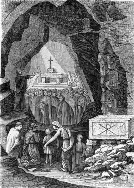 Раннехристианское богослужение в катакомбах святого Каллиста (гравюра XIX века).