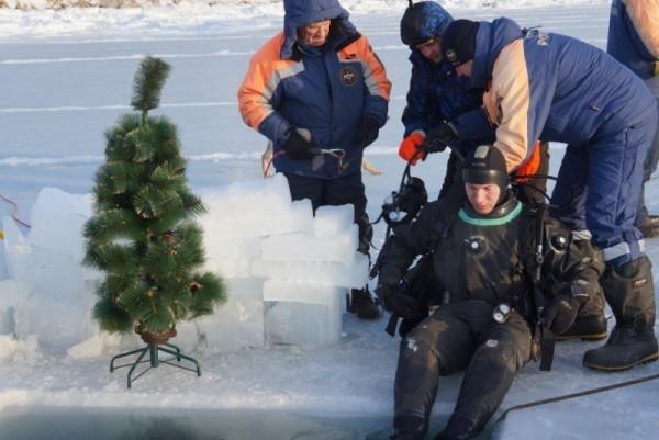 На дне Охотского моря появилась новогодняя елка от спасателей