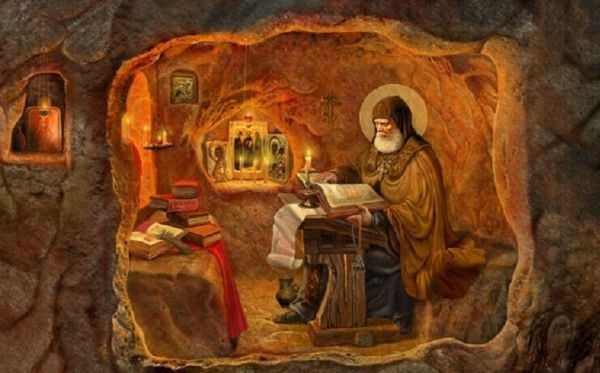 Преподобный Илья в лаврской пещере