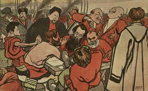Карикатура «Головин пишет ответ Столыпину»