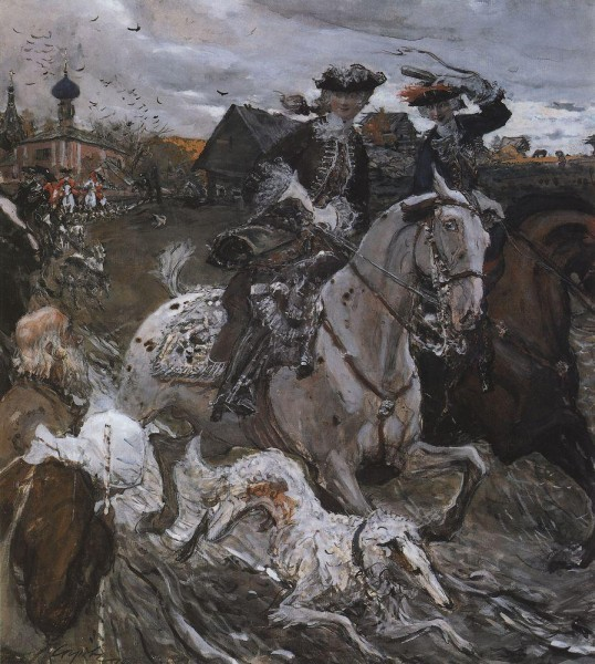 Выезд императора Петра II и царевны Елизаветы Петровны на охоту