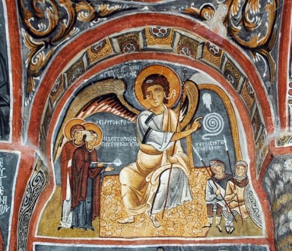 Жены-мироносицы и ангел на гробе. Фреска пещерной церкви в Каппадокии. XI в
