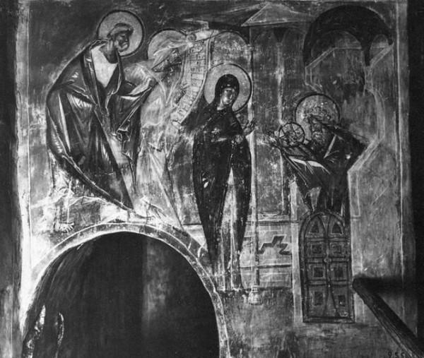 Фреска Сретения Господня в храме Успения на Волотовом поле под Новгородом Великим