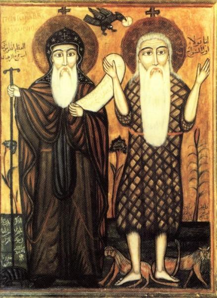 Встреча святого Антония Великого и Павла Фивейского. Коптская икона
