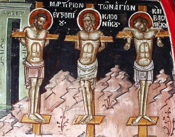 Церковь чтит память Святых мучеников Евтропия, Клеоника и Василиска