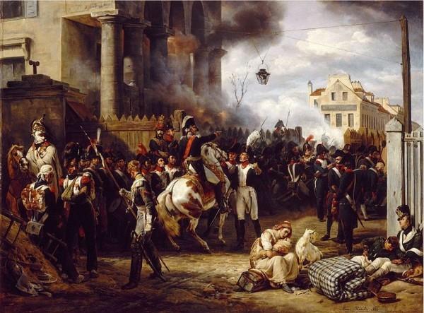 Оборона заставы Клиши в Париже в 1814 г. Картина О. Верне, который сам был участником обороны Парижа