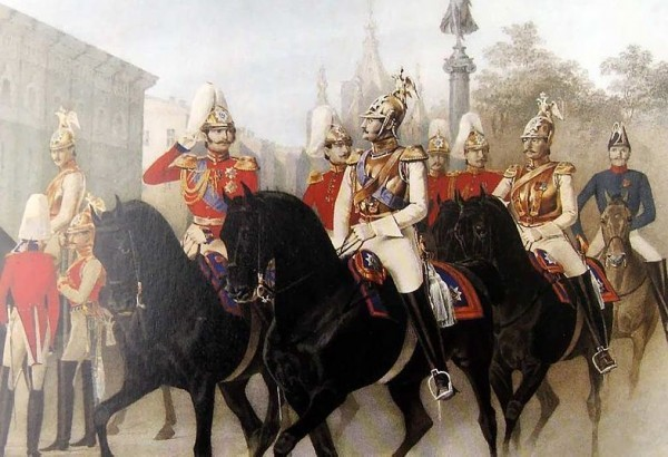 Император Николай I и цесаревич Александр Николаевич среди офицеров лейб-гвардии Конного полка