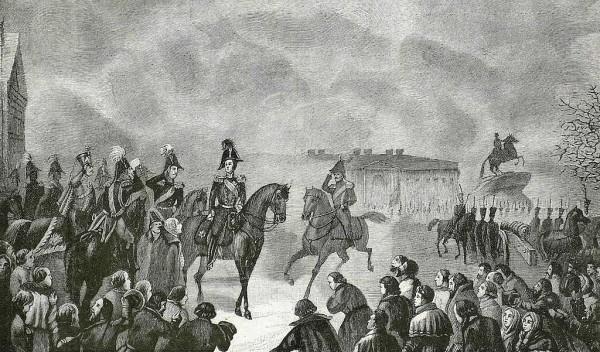 Николай I на Сенатской площади 14 декабря 1825 года