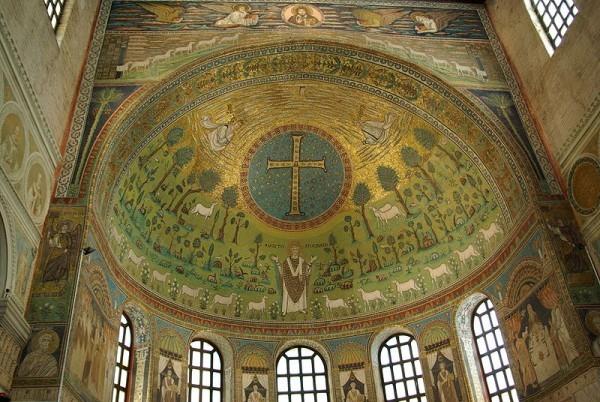 Конха - полукупольное перекрытие. Конха в одном из соборов Равенны. Фото: Википедия