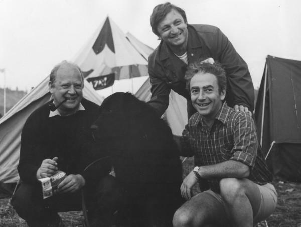 с Ю Визбором, В Берковским и собакой, 1977 г, Грушинский ф-ль
