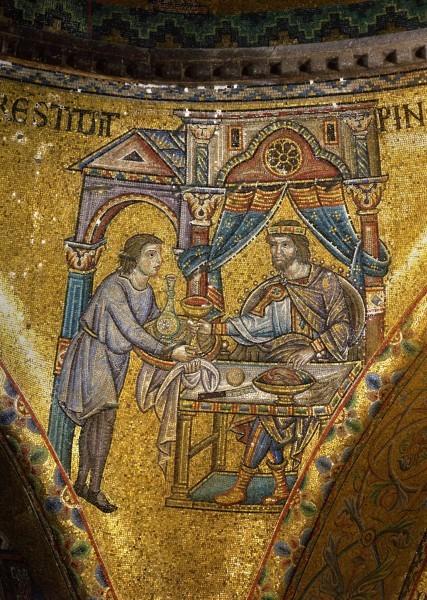 21.Виночерпий подает чашу вина фарарону (исполнение предсказания Иосифа) (Быт. 40. 21).