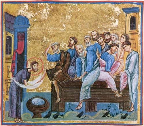 Омовение ног (Иоанн 13: 1 - 20). Миниатюра из Евангелия и Апостола, XI в. Пергамент. Монастырь Дионисиат, Афон (Греция). Тайная вечеря