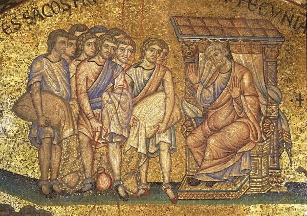 36.Братья Иосифа опорожняют мешки с хлебом и серебром перед Иаковом, отцом своим. (Быт. 42. 35).