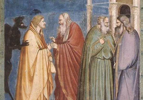 Иуда получает плату за предательство (Джотто, капелла Скровеньи, 1304—1306)