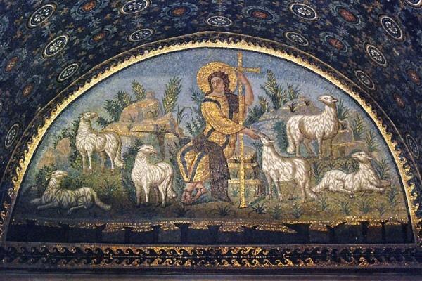 Добрый Пастырь. Мозаика из мавзолея Галлы Плацидии в Равенне