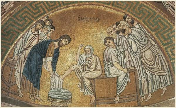 Омовение ног. Византия, XI в. Местонахождение: Греция, Фокида, монастырь Осиос Лукас. Тайная вечеря