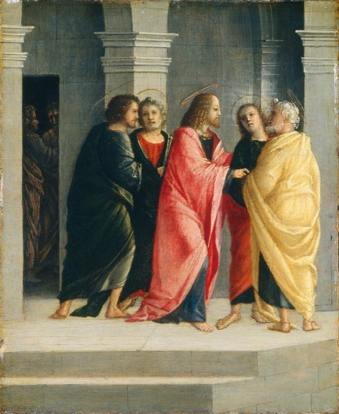 Иисус указывает ученикам как подготовить пасхальную трапезу. Винченцо Чиверкьо. 1504 г.