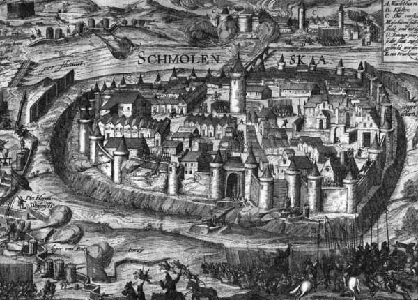 Осада Смоленской крепости войсками Сигизмунда III в 1609–1611 гг.  Гравюра. Начало XVII в.