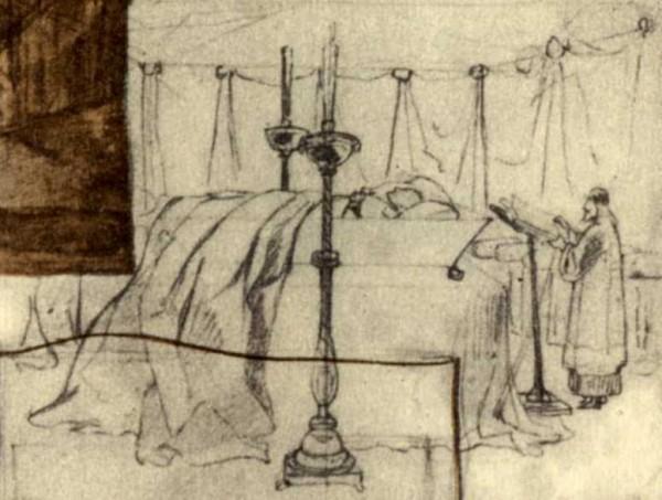 Т. Г. Шевченко. Суворов в гробу. Фрагмент листа эскизов 1841-1842 гг.