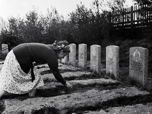 Жительница Мурманска убирает могилу на кладбище американских и английских моряков, погибших во время Великой Отечественной войны Фото: В. Козлов