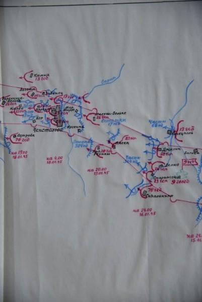 Карта наступления. 16-18 января