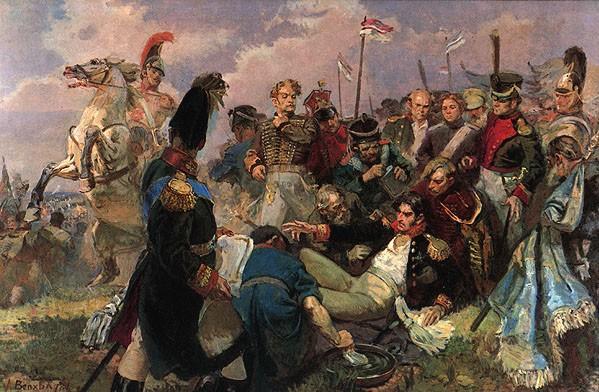 Смертельное ранение генерала Багратиона на Бородинском поле