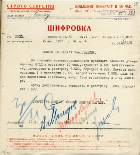 Запрос о расстрелах. Среди подписей ЗА: Сталин и другие