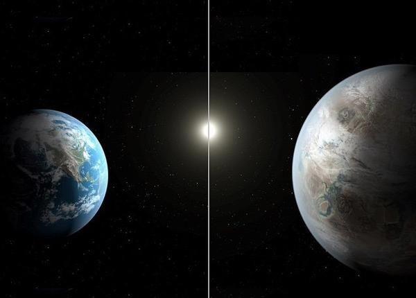 Земля и Kepler-452b. Фото NASA