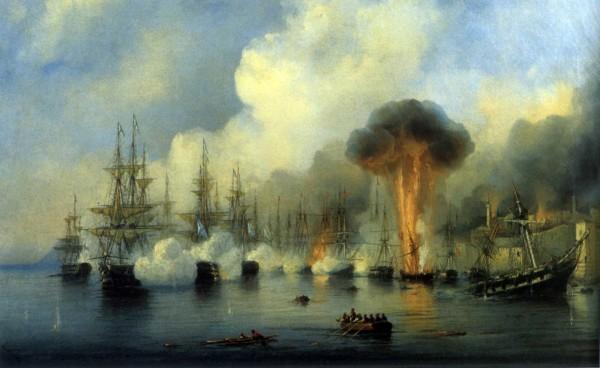 А.П. Боголюбов. Истребление турецкого флота в Синопском сражении. 1854 г.